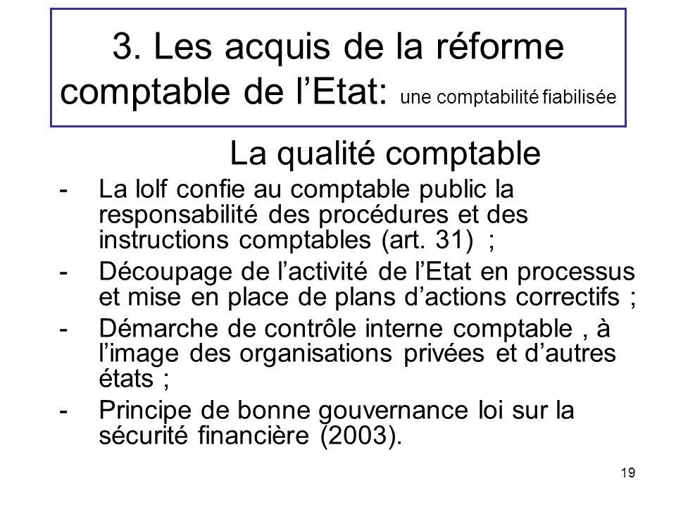 19 3. Les acquis de la réforme comptable de lEtat: une comptabilité fiabilisée La qualité comptable -La lolf confie au comptable public la responsabil