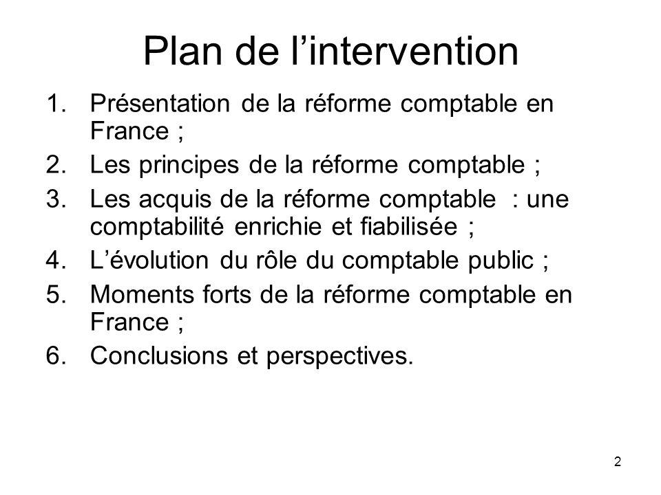 2 Plan de lintervention 1.Présentation de la réforme comptable en France ; 2.Les principes de la réforme comptable ; 3.Les acquis de la réforme compta