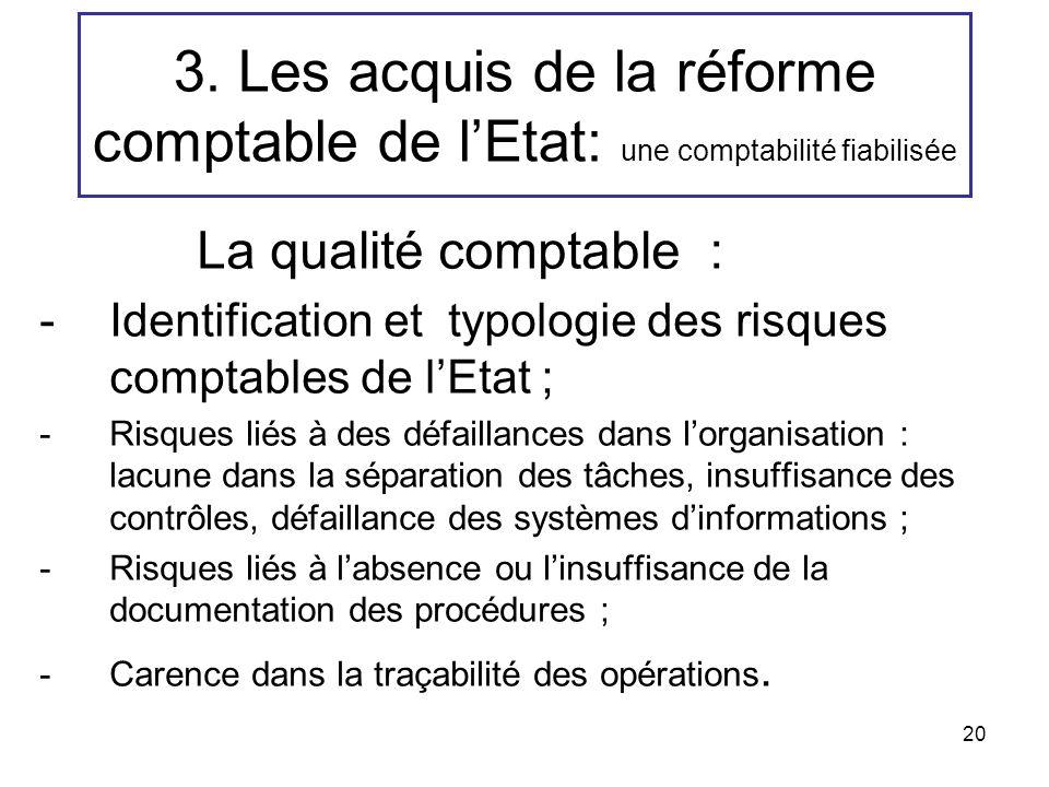 20 3. Les acquis de la réforme comptable de lEtat: une comptabilité fiabilisée La qualité comptable : -Identification et typologie des risques comptab