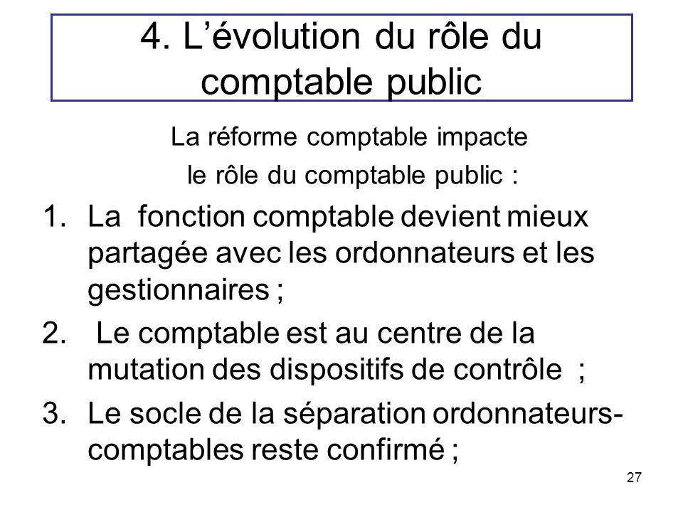 27 4. Lévolution du rôle du comptable public La réforme comptable impacte le rôle du comptable public : 1.La fonction comptable devient mieux partagée