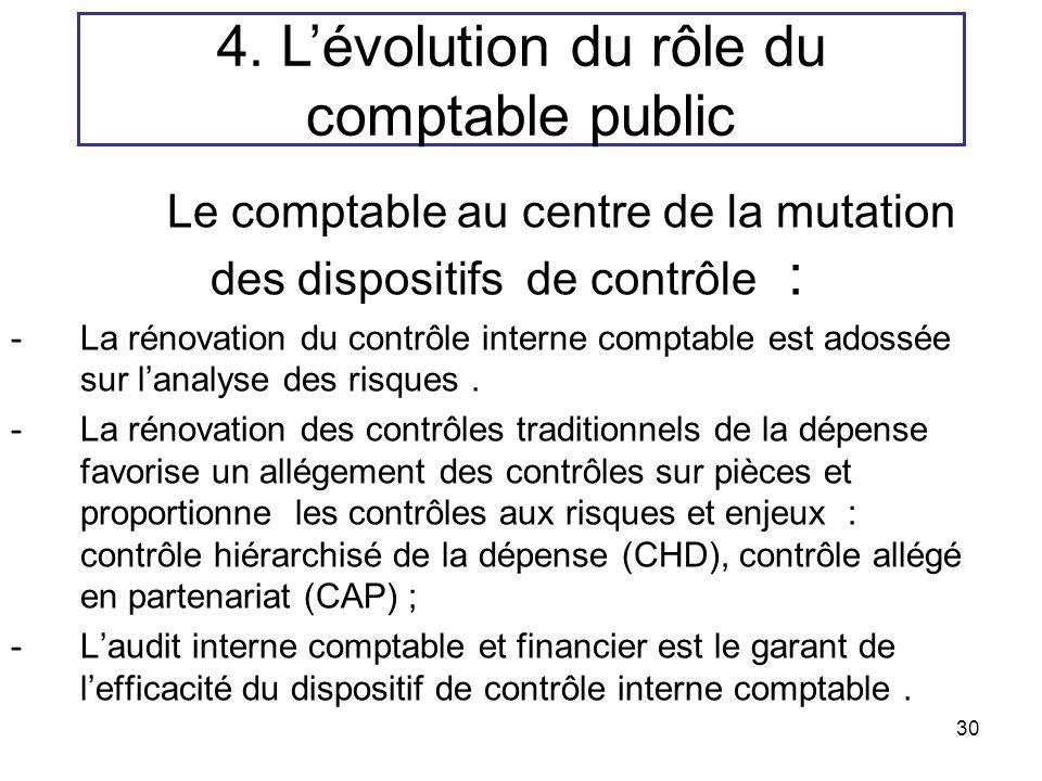 30 Le comptable au centre de la mutation des dispositifs de contrôle : -La rénovation du contrôle interne comptable est adossée sur lanalyse des risqu