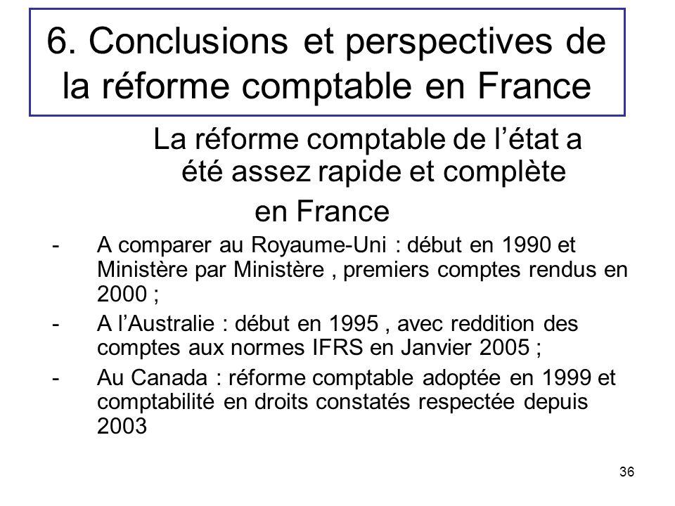 36 6. Conclusions et perspectives de la réforme comptable en France La réforme comptable de létat a été assez rapide et complète en France -A comparer