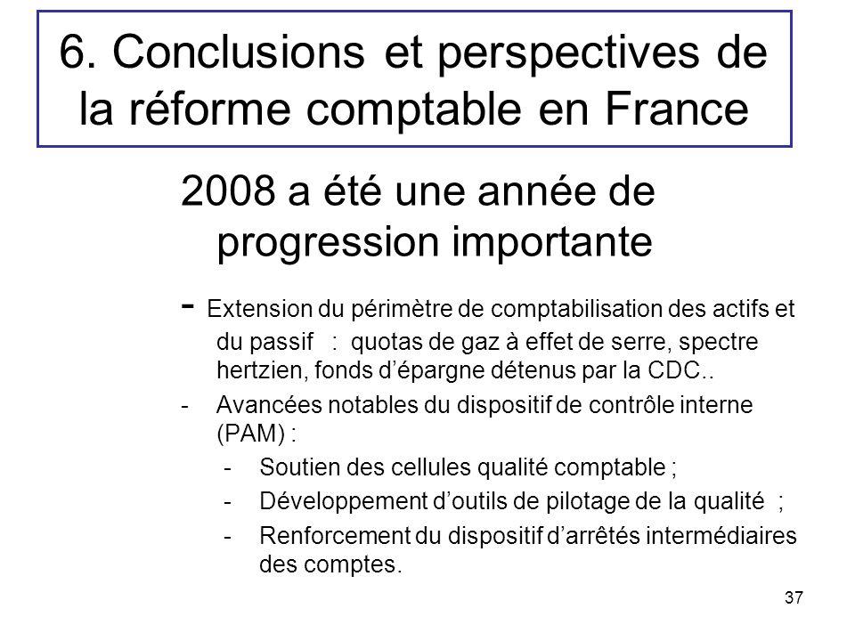 37 6. Conclusions et perspectives de la réforme comptable en France 2008 a été une année de progression importante - Extension du périmètre de comptab