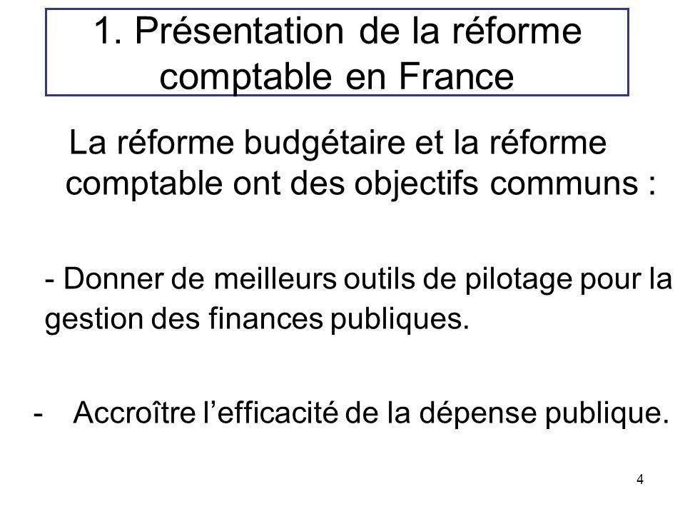 4 La réforme budgétaire et la réforme comptable ont des objectifs communs : - Donner de meilleurs outils de pilotage pour la gestion des finances publ