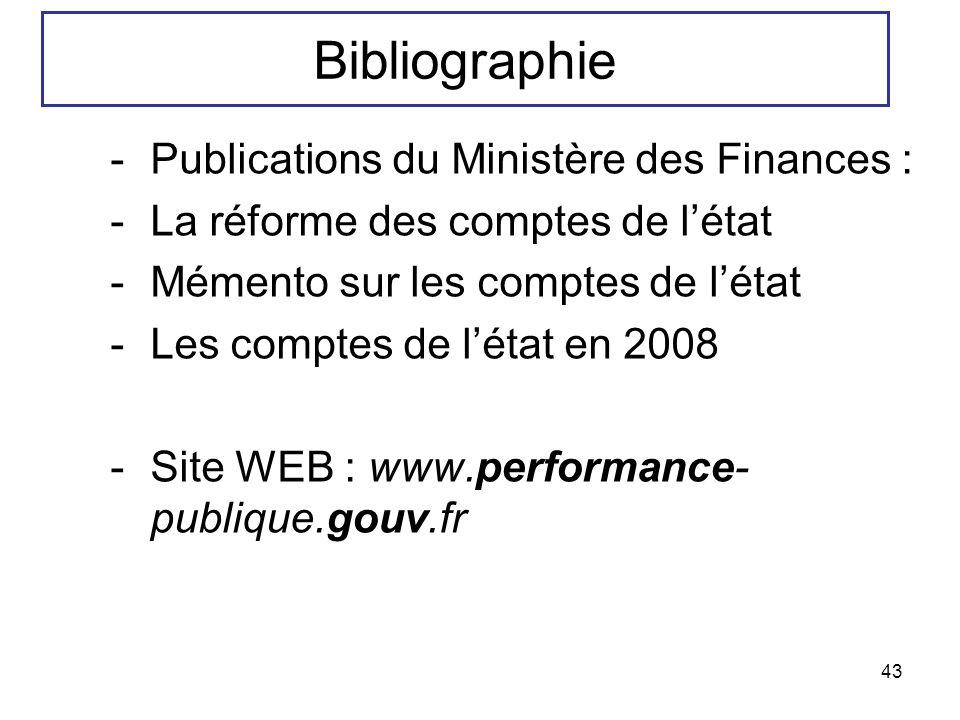 43 -Publications du Ministère des Finances : -La réforme des comptes de létat -Mémento sur les comptes de létat -Les comptes de létat en 2008 -Site WE