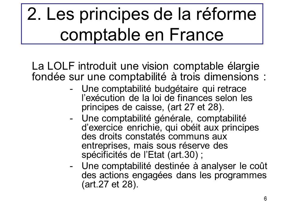 6 La LOLF introduit une vision comptable élargie fondée sur une comptabilité à trois dimensions : -Une comptabilité budgétaire qui retrace lexécution