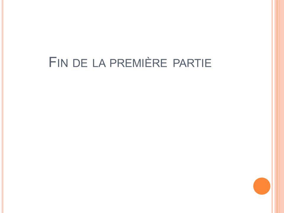 F IN DE LA PREMIÈRE PARTIE