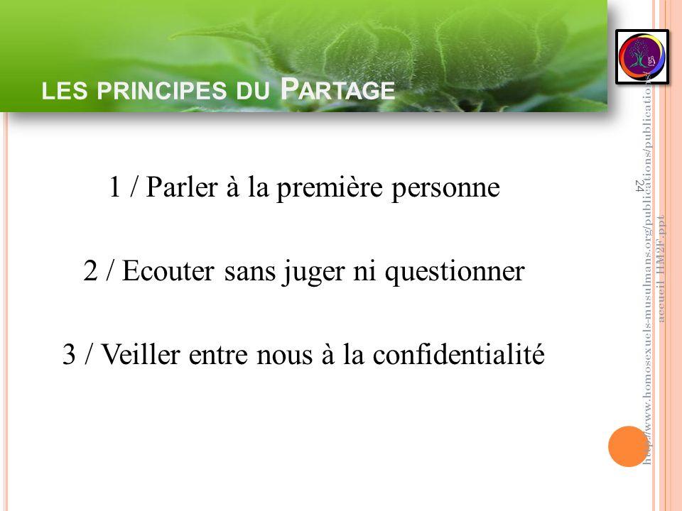 LES PRINCIPES DU P ARTAGE 24 1 / Parler à la première personne 2 / Ecouter sans juger ni questionner 3 / Veiller entre nous à la confidentialité http: