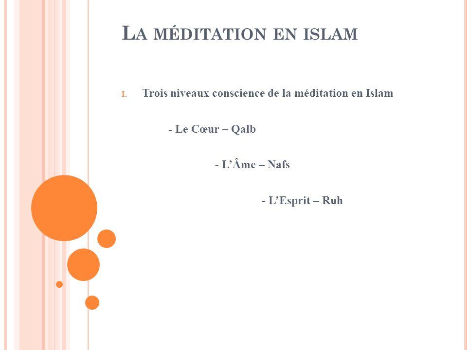 L A MÉDITATION EN ISLAM I. Trois niveaux conscience de la méditation en Islam - Le Cœur – Qalb - LÂme – Nafs - LEsprit – Ruh