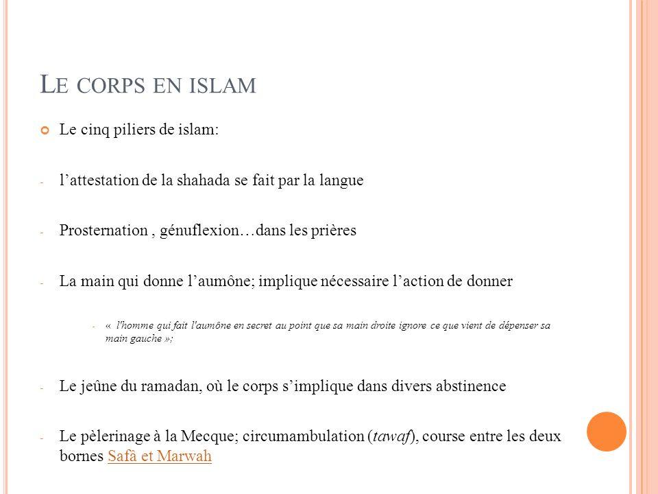 L E CORPS EN ISLAM Le cinq piliers de islam: - lattestation de la shahada se fait par la langue - Prosternation, génuflexion…dans les prières - La mai