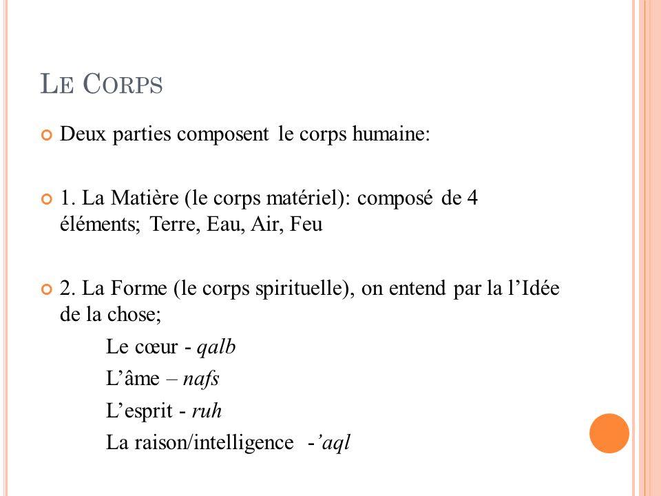 L E C ORPS Deux parties composent le corps humaine: 1. La Matière (le corps matériel): composé de 4 éléments; Terre, Eau, Air, Feu 2. La Forme (le cor