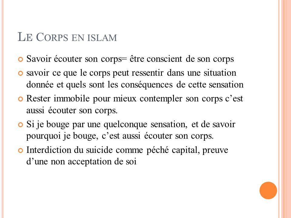 L E C ORPS EN ISLAM Savoir écouter son corps= être conscient de son corps savoir ce que le corps peut ressentir dans une situation donnée et quels son