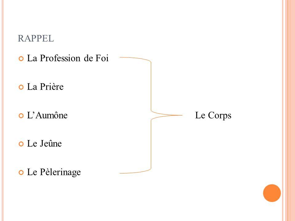 RAPPEL La Profession de Foi La Prière LAumône Le Corps Le Jeûne Le Pèlerinage