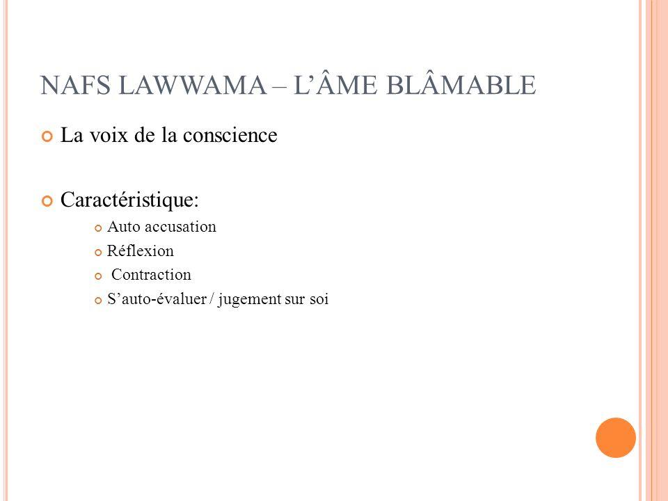 NAFS LAWWAMA – LÂME BLÂMABLE La voix de la conscience Caractéristique: Auto accusation Réflexion Contraction Sauto-évaluer / jugement sur soi
