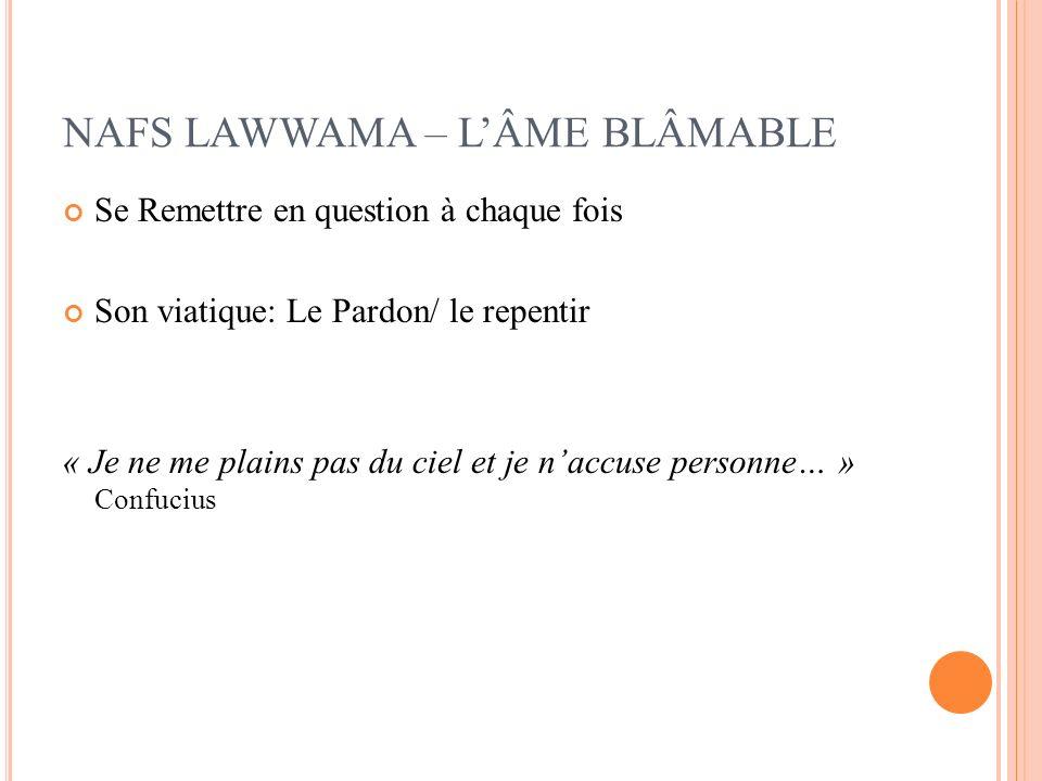 NAFS LAWWAMA – LÂME BLÂMABLE Se Remettre en question à chaque fois Son viatique: Le Pardon/ le repentir « Je ne me plains pas du ciel et je naccuse pe