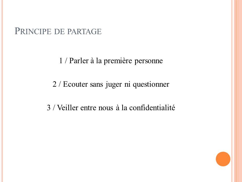 P RINCIPE DE PARTAGE 1 / Parler à la première personne 2 / Ecouter sans juger ni questionner 3 / Veiller entre nous à la confidentialité