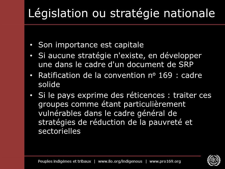 Peuples indigènes et tribaux | www.ilo.org/indigenous | www.pro169.org Législation ou stratégie nationale Son importance est capitale Si aucune straté