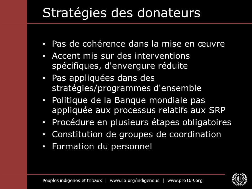 Peuples indigènes et tribaux | www.ilo.org/indigenous | www.pro169.org Stratégies des donateurs Pas de cohérence dans la mise en œuvre Accent mis sur
