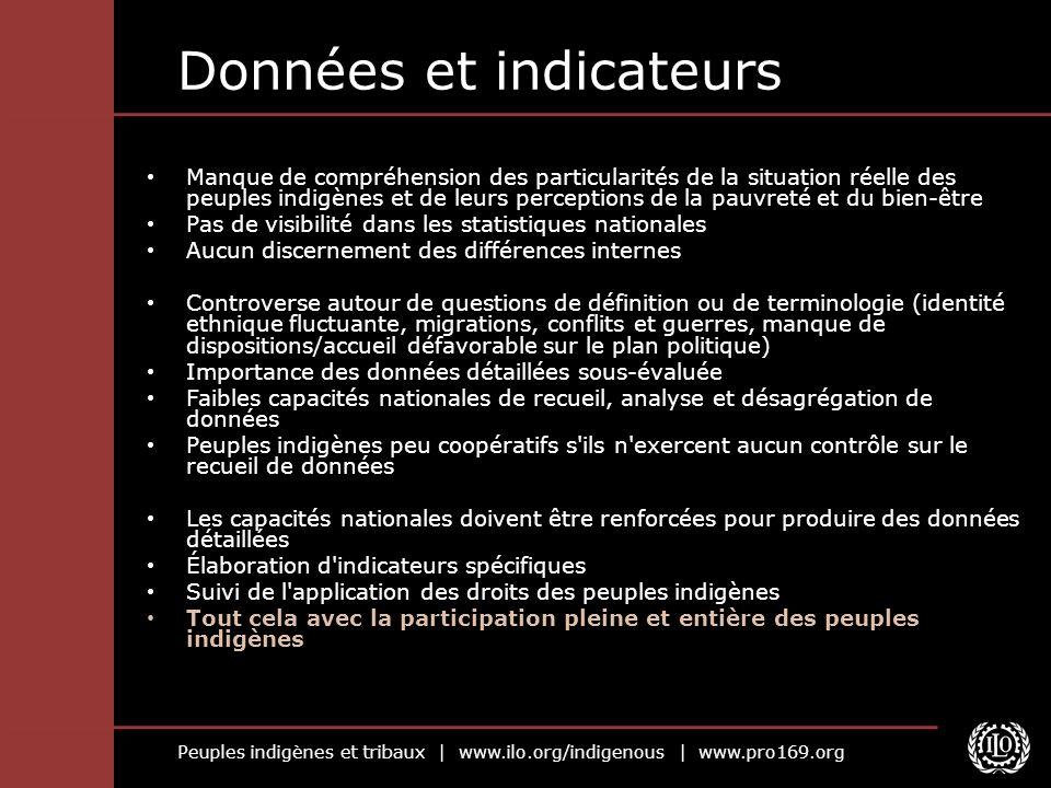 Peuples indigènes et tribaux | www.ilo.org/indigenous | www.pro169.org Données et indicateurs Manque de compréhension des particularités de la situati