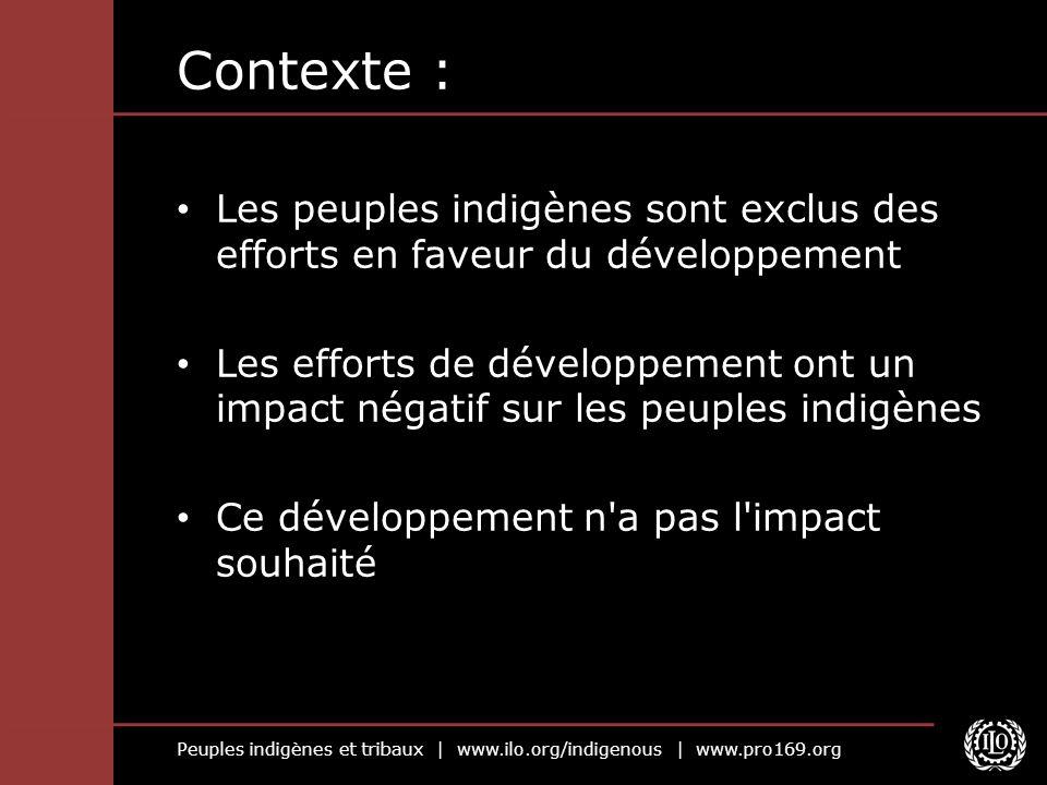 Peuples indigènes et tribaux | www.ilo.org/indigenous | www.pro169.org Contexte : Les peuples indigènes sont exclus des efforts en faveur du développe