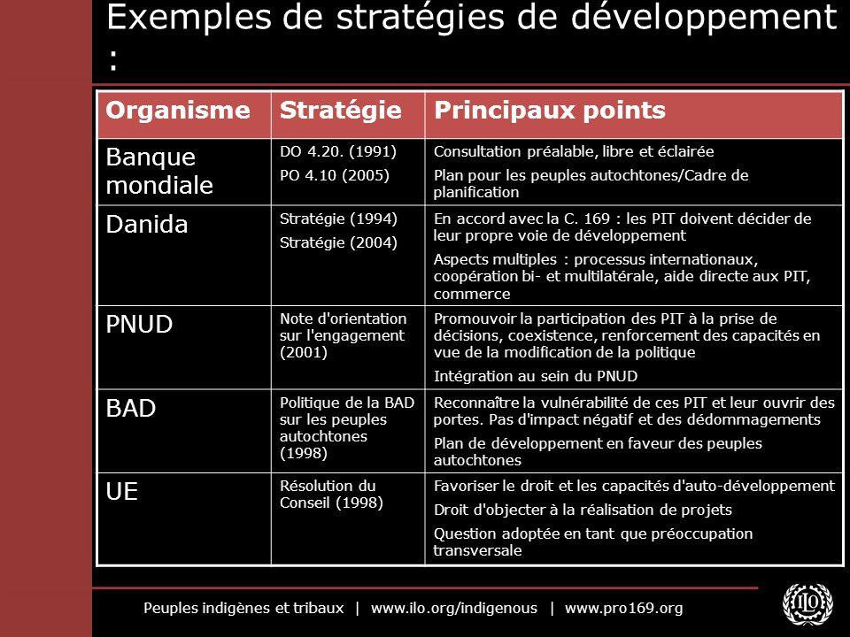 Peuples indigènes et tribaux | www.ilo.org/indigenous | www.pro169.org Exemples de stratégies de développement : OrganismeStratégiePrincipaux points B
