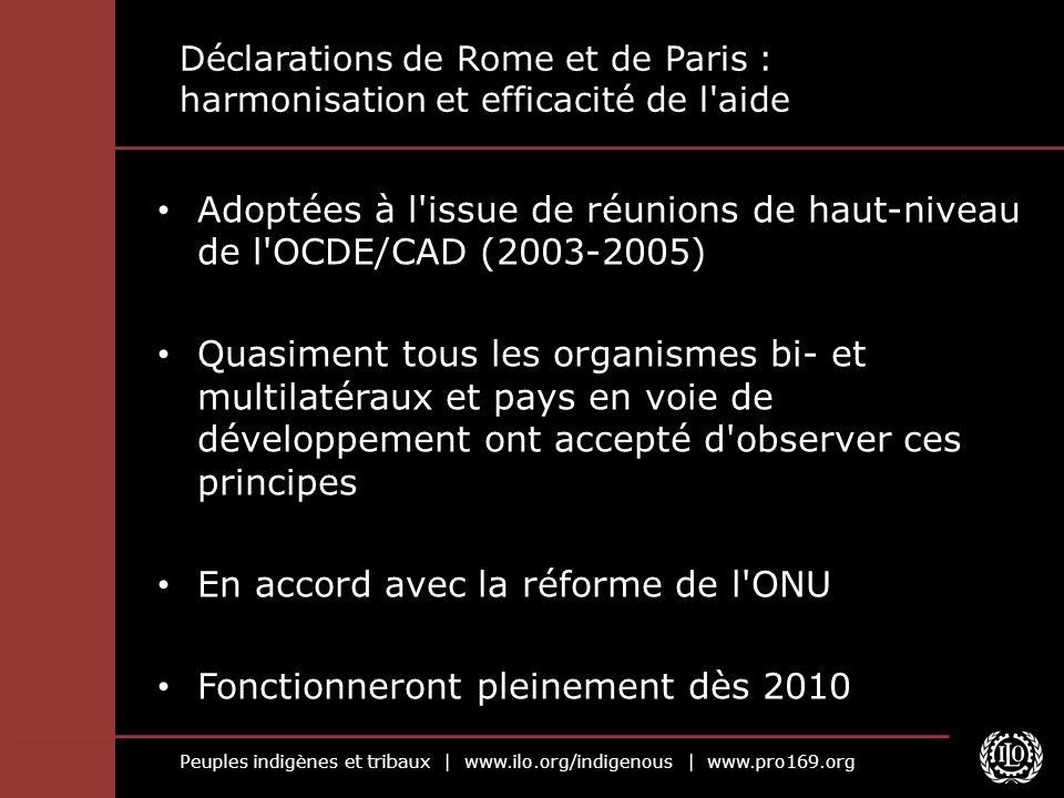 Peuples indigènes et tribaux | www.ilo.org/indigenous | www.pro169.org Déclarations de Rome et de Paris : harmonisation et efficacité de l'aide Adopté