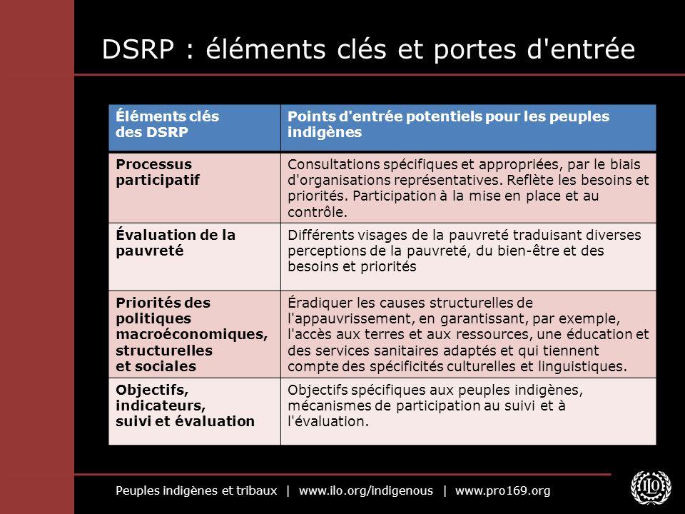 Peuples indigènes et tribaux | www.ilo.org/indigenous | www.pro169.org DSRP : éléments clés et portes d'entrée Éléments clés des DSRP Points d'entrée