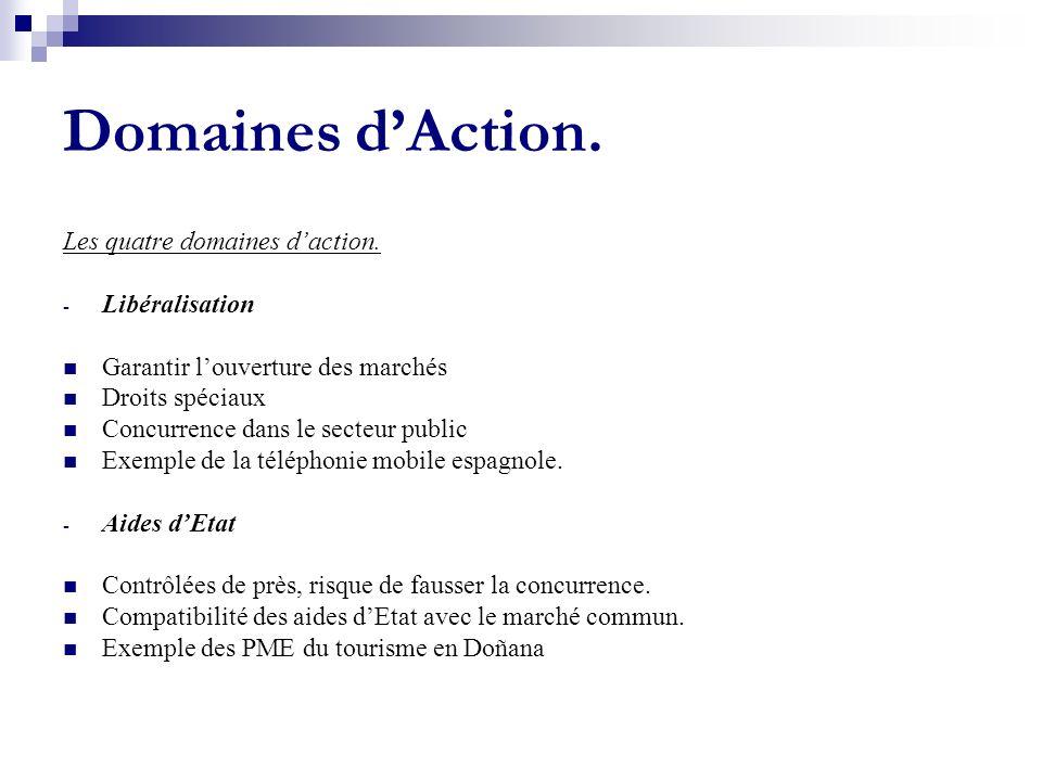 Domaines dAction. Les quatre domaines daction. - Libéralisation Garantir louverture des marchés Droits spéciaux Concurrence dans le secteur public Exe