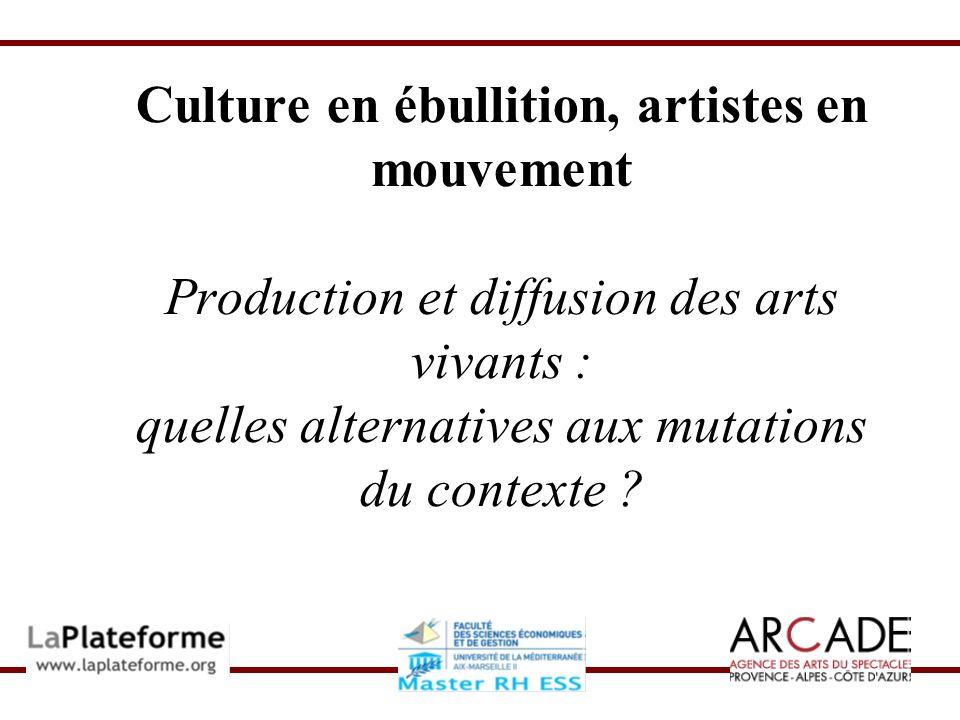 Culture en ébullition, artistes en mouvement Petits lieux et compagnies indépendantes Problème de financement Tension entre légitimité artistique et obligation de commercialité