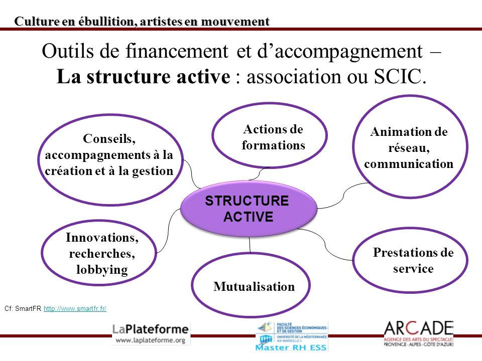 STRUCTURE ACTIVE STRUCTURE ACTIVE Culture en ébullition, artistes en mouvement Outils de financement et daccompagnement – La structure active : association ou SCIC.