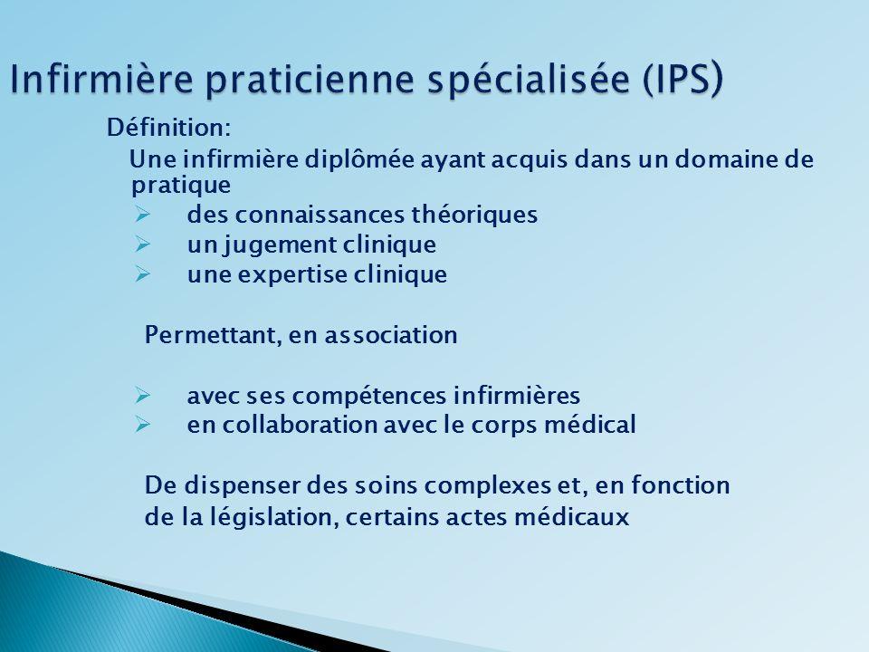 Infirmière praticienne spécialisée (IPS ) Définition: Une infirmière diplômée ayant acquis dans un domaine de pratique des connaissances théoriques un