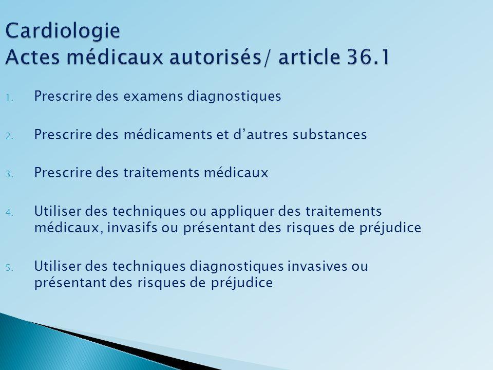 Cardiologie Actes médicaux autorisés/ article 36.1 1. Prescrire des examens diagnostiques 2. Prescrire des médicaments et dautres substances 3. Prescr
