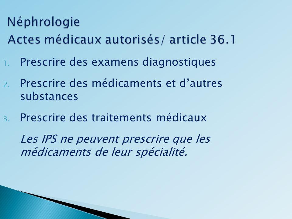 Néphrologie Actes médicaux autorisés/ article 36.1 Néphrologie Actes médicaux autorisés/ article 36.1 1. Prescrire des examens diagnostiques 2. Prescr