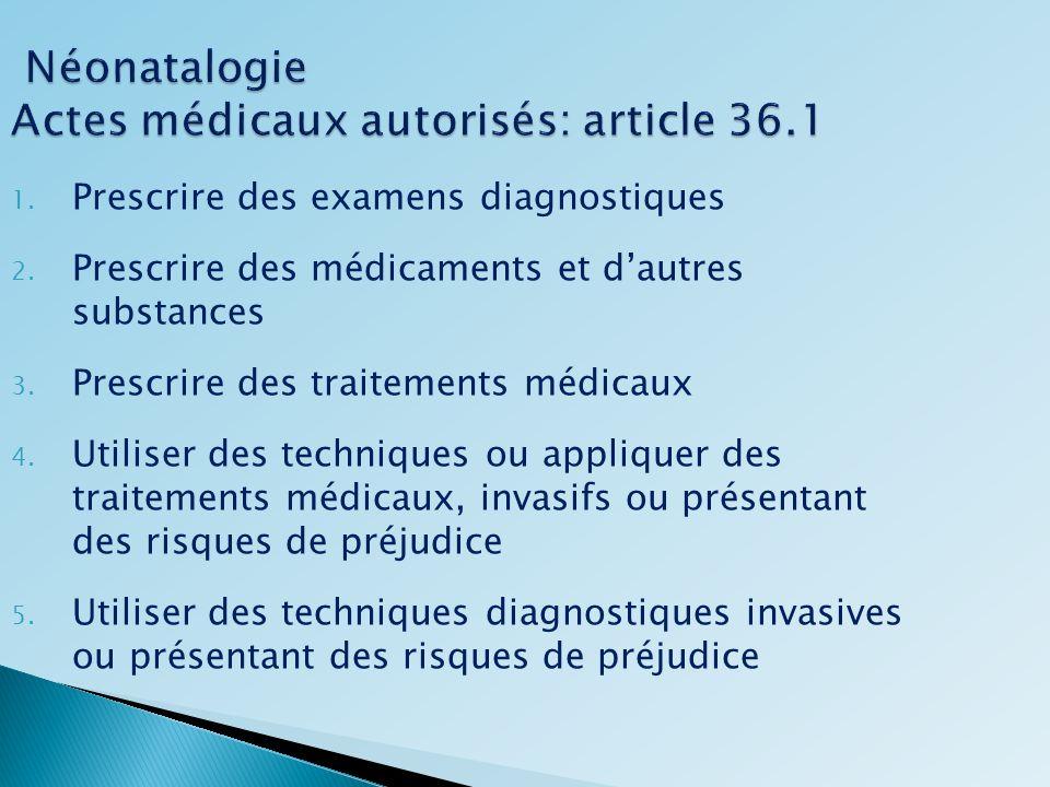 Néonatalogie Actes médicaux autorisés: article 36.1 Néonatalogie Actes médicaux autorisés: article 36.1 1. Prescrire des examens diagnostiques 2. Pres