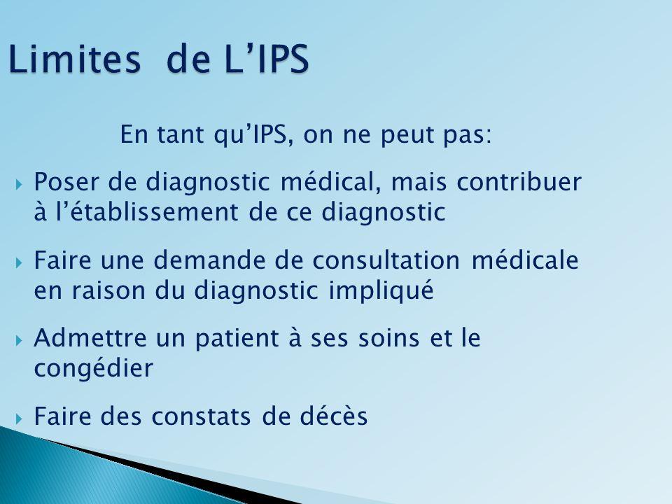 Limites de LIPS En tant quIPS, on ne peut pas: Poser de diagnostic médical, mais contribuer à létablissement de ce diagnostic Faire une demande de con