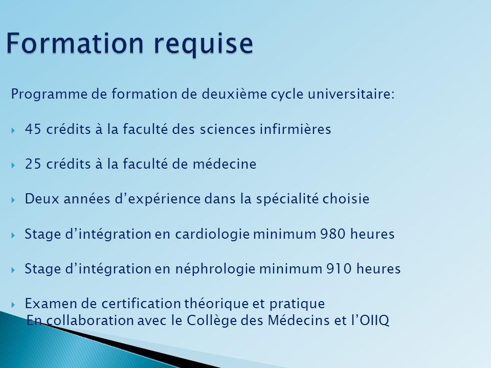 Formation requise Programme de formation de deuxième cycle universitaire: 45 crédits à la faculté des sciences infirmières 25 crédits à la faculté de