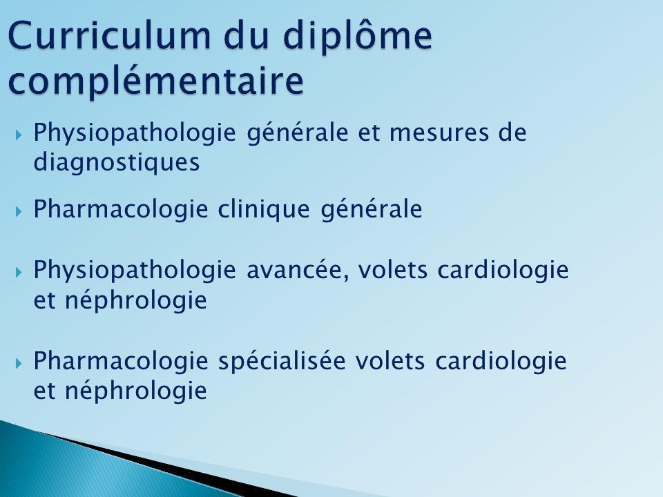 Curriculum du diplôme complémentaire Physiopathologie générale et mesures de diagnostiques Pharmacologie clinique générale Physiopathologie avancée, v
