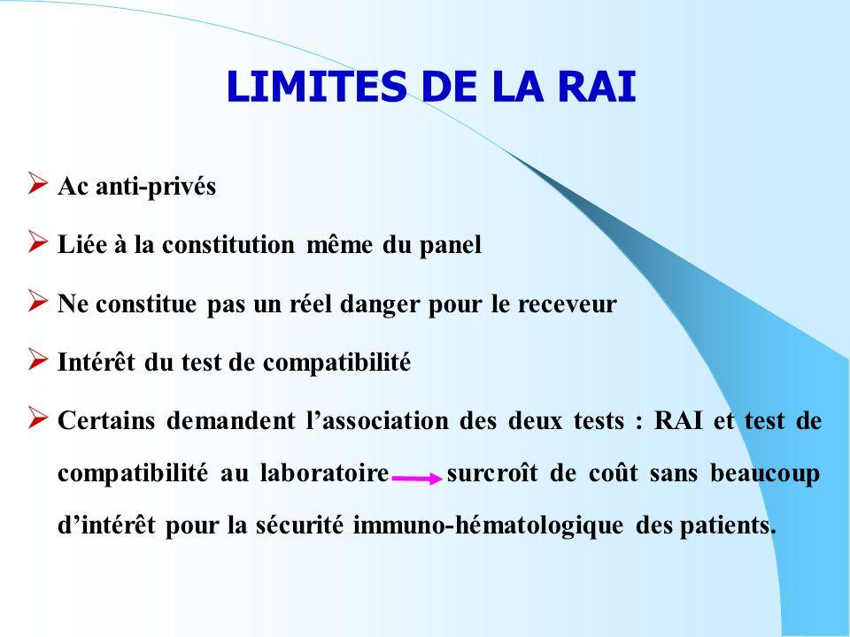 LIMITES DE LA RAI Ac anti-privés Liée à la constitution même du panel Ne constitue pas un réel danger pour le receveur Intérêt du test de compatibilit