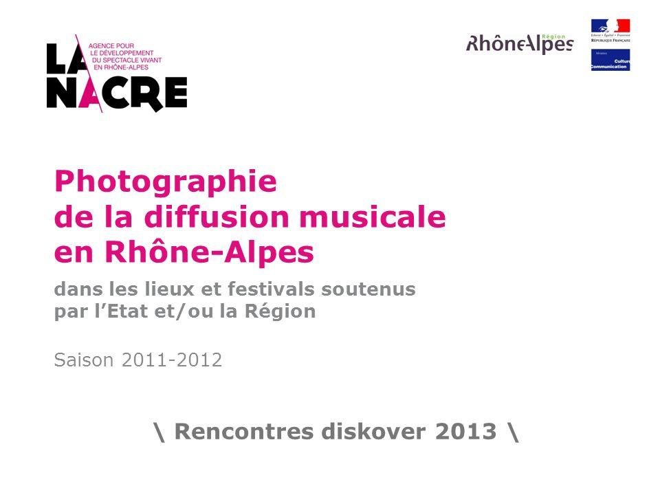 Photographie de la diffusion musicale en Rhône-Alpes dans les lieux et festivals soutenus par lEtat et/ou la Région Saison 2011-2012 \ Rencontres disk