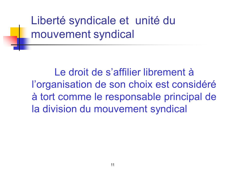 Liberté syndicale et unité du mouvement syndical Le droit de saffilier librement à lorganisation de son choix est considéré à tort comme le responsable principal de la division du mouvement syndical 11