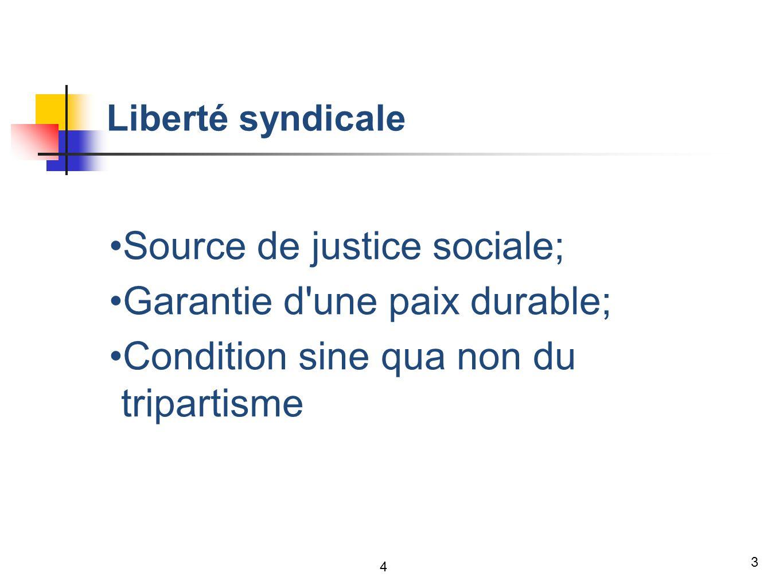 3 Liberté syndicale Source de justice sociale; Garantie d une paix durable; Condition sine qua non du tripartisme 4
