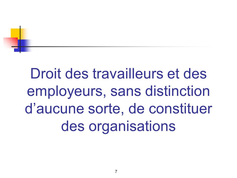 Droit des travailleurs et des employeurs, sans distinction daucune sorte, de constituer des organisations 7