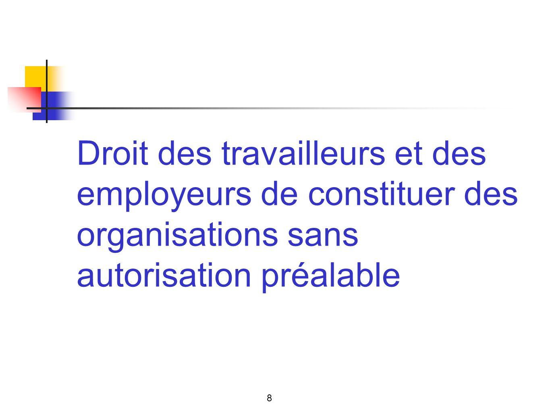 Droit des travailleurs et des employeurs de constituer des organisations sans autorisation préalable 8