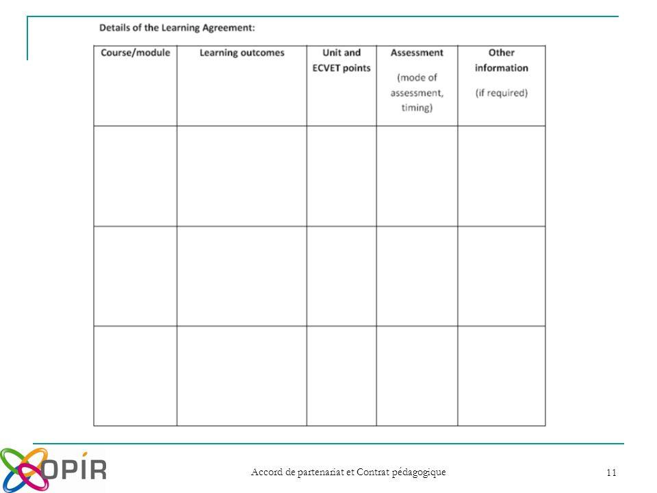 Accord de partenariat et Contrat pédagogique 11