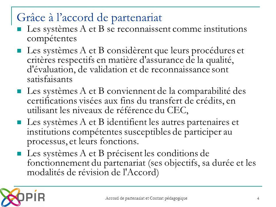 Accord de partenariat et Contrat pédagogique 4 Grâce à laccord de partenariat Les systèmes A et B se reconnaissent comme institutions compétentes Les