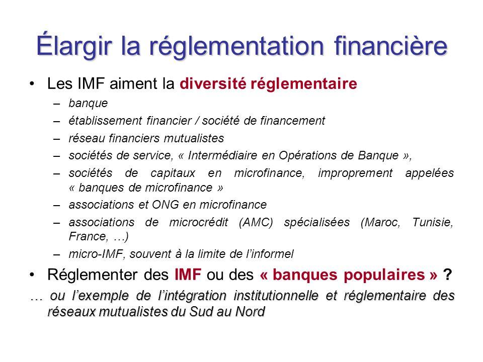 Élargir la réglementation financière Les IMF aiment la diversité réglementaire –banque –établissement financier / société de financement –réseau financiers mutualistes –sociétés de service, « Intermédiaire en Opérations de Banque », –sociétés de capitaux en microfinance, improprement appelées « banques de microfinance » –associations et ONG en microfinance –associations de microcrédit (AMC) spécialisées (Maroc, Tunisie, France, …) –micro-IMF, souvent à la limite de linformel Réglementer des IMF ou des « banques populaires » .