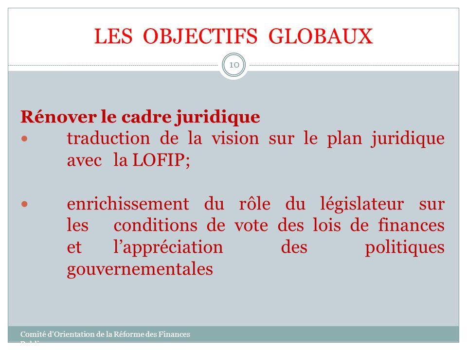 LES OBJECTIFS GLOBAUX Rénover le cadre juridique traduction de la vision sur le plan juridique avec la LOFIP; enrichissement du rôle du législateur su