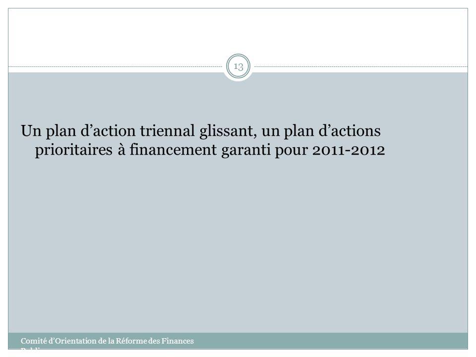 13 Un plan daction triennal glissant, un plan dactions prioritaires à financement garanti pour 2011-2012 Comité dOrientation de la Réforme des Finance