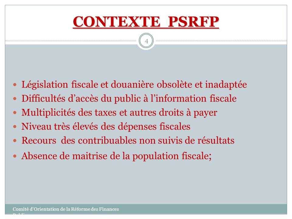 CONTEXTE PSRFP Législation fiscale et douanière obsolète et inadaptée Difficultés daccès du public à linformation fiscale Multiplicités des taxes et a