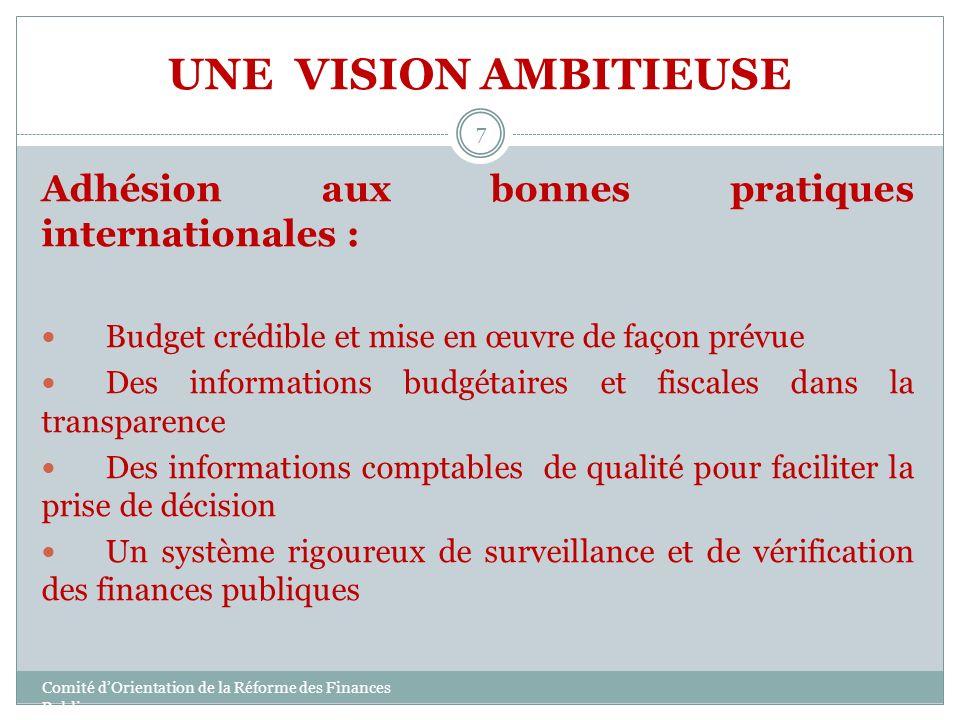 UNE VISION AMBITIEUSE Adhésion aux bonnes pratiques internationales : Budget crédible et mise en œuvre de façon prévue Des informations budgétaires et